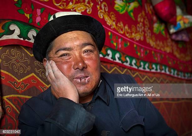 Kyrgyz man near Karakul lake Xinjiang Uyghur Autonomous Region China on September 21 2012 in Karakul Lake China