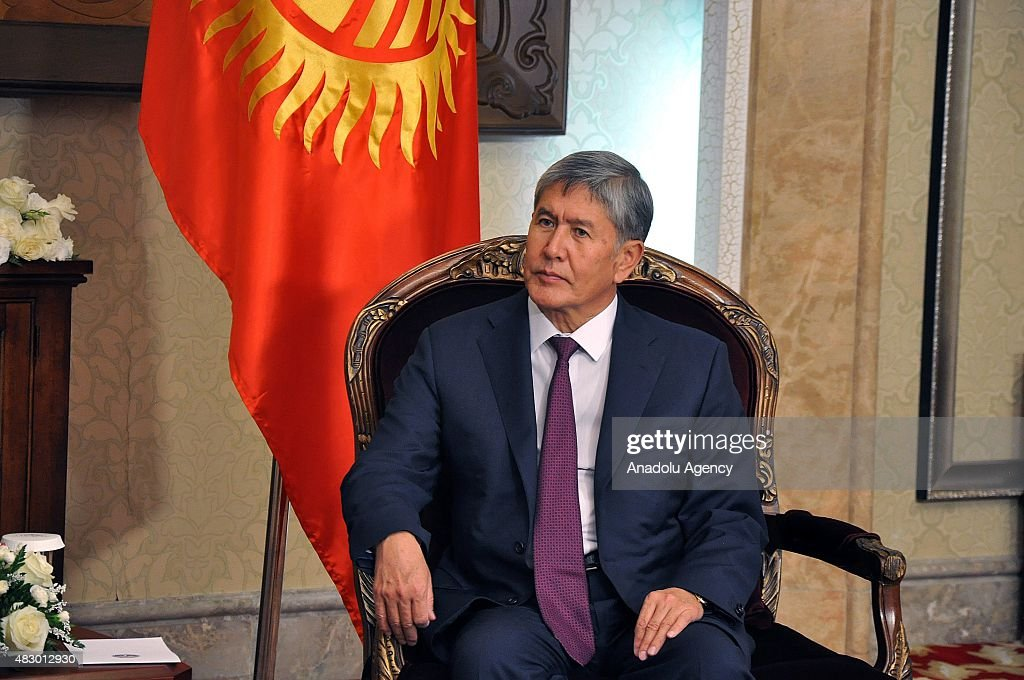 Kyrgyz President <a gi-track='captionPersonalityLinkClicked' href=/galleries/search?phrase=Almazbek+Atambayev&family=editorial&specificpeople=4229890 ng-click='$event.stopPropagation()'>Almazbek Atambayev</a> meets with Turkmen President Gurbanguly Berdimuhamedow (not seen) in Bishkek, Kyrgyzstan, on August 05, 2015.