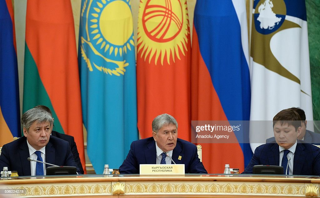 Kyrgyz President Almazbek Atambayev (C) speaks during the Eurasian Economic Union (EEU) meeting of the heads of states in Astana, Kazakhstan on May 31, 2016.