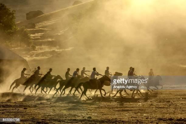 Kyrgyz Turks play the traditional Central Asian sport Buzkashi in Turkey's eastern city of Van on September 10 2017 Kyrgyz Turks living in Ulupamir...