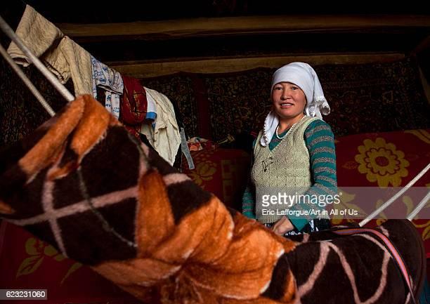 Kyrgyz woman near Karakul lake Xinjiang Uyghur Autonomous Region China on September 21 2012 in Karakul Lake China