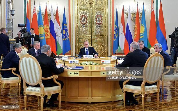 Kyrgyzstan's President Almazbek Atambayev Collective Security Treaty Organisation secretary general Nikolai Bordyuzha Russian President Vladimir...