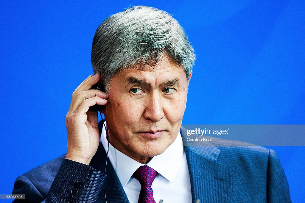 Kyrgyzstanstan President <a gi-track='captionPersonalityLinkClicked' href=/galleries/search?phrase=Almazbek+Atambayev&family=editorial&specificpeople=4229890 ng-click='$event.stopPropagation()'>Almazbek Atambayev</a> attends a press conference with German Chancellor Angela Merkel (not pictured) at Chancellery on April 1, 2015 in Berlin, Germany. Atambayev is on an official visit to Germany and is meeting with both President Gauck and Chancellor Merkel.