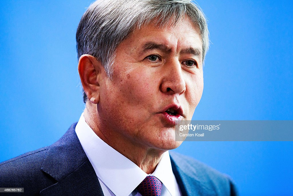 Kyrgyzstanstan President Almazbek Atambayev attends a press conference with German Chancellor Angela Merkel (not pictured) at Chancellery on April 1, 2015 in Berlin, Germany. Atambayev is on an official visit to Germany and is meeting with both President Gauck and Chancellor Merkel.