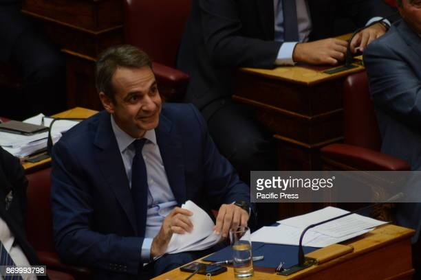 PARLIAMENT ATHENS ATTIKI GREECE Kyriakos Mitsotakis leader of the main opposition and President of New Democracy party during the speech of Greek...