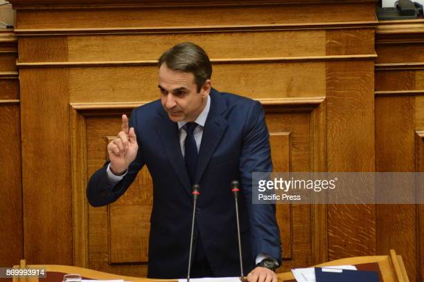 PARLIAMENT ATHENS ATTIKI GREECE Kyriakos Mitsotakis leader of the main opposition and President of New Democracy party during his speech in Hellenic...