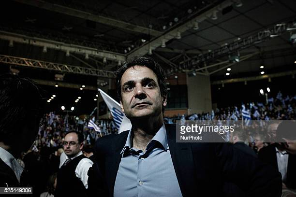 Kyriakos Mitsotakis Minister of Administrative Reform attending Antonis Samaras main preelection speech in Athens on January 23 2015