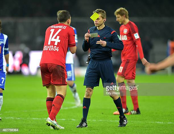 Kyriakos Papadopoulos of Bayer 04 Leverkusen and referee Dr Jochen Drees during the game between Hertha BSC and Bayer 04 Leverkusen on february 4...