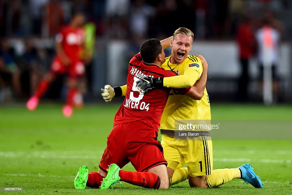 <a gi-track='captionPersonalityLinkClicked' href=/galleries/search?phrase=Kyriakos+Papadopoulos&family=editorial&specificpeople=5446261 ng-click='$event.stopPropagation()'>Kyriakos Papadopoulos</a> of Bayer Leverkusen celebrates with <a gi-track='captionPersonalityLinkClicked' href=/galleries/search?phrase=Bernd+Leno&family=editorial&specificpeople=5528639 ng-click='$event.stopPropagation()'>Bernd Leno</a> of Bayer Leverkusen during the UEFA Champions League qualifying play off round 2nd leg between Bayer Leverkusen and SS Lazio on August 26, 2015 in Leverkusen, Germany.