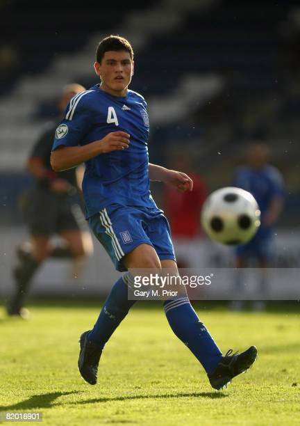 Kyriakos Papadopoulos of Greece in action during the UEFA European U19 Championship group B match between England and Greece at the U Nisy Stadium on...