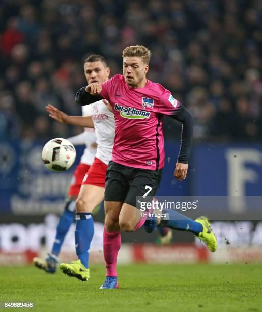 Kyriakos Papadopoulos of Hamburg and Alexander Esswein of Hertha BSC Berlin battle for the ball during the Bundesliga match between Hamburger SV and...
