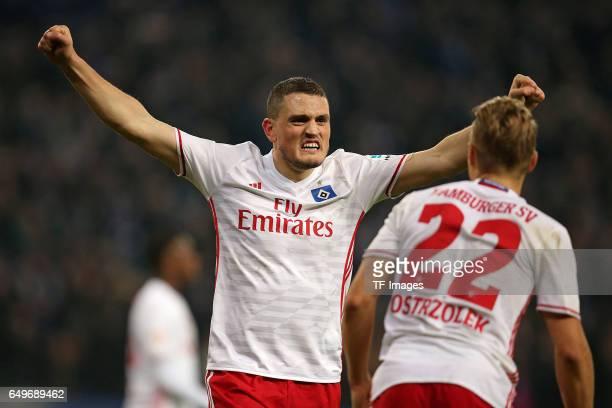Kyriakos Papadopoulos of Hamburg and Matthias Ostrzolek of Hamburg celebrate their win after the Bundesliga match between Hamburger SV and Hertha BSC...