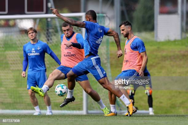 Kyriakos Papadopoulos of Hamburg and Walace of Hamburg battle for the ball during the Training Camp of Hamburger SV on July 23 2017 in Laengenfeld...