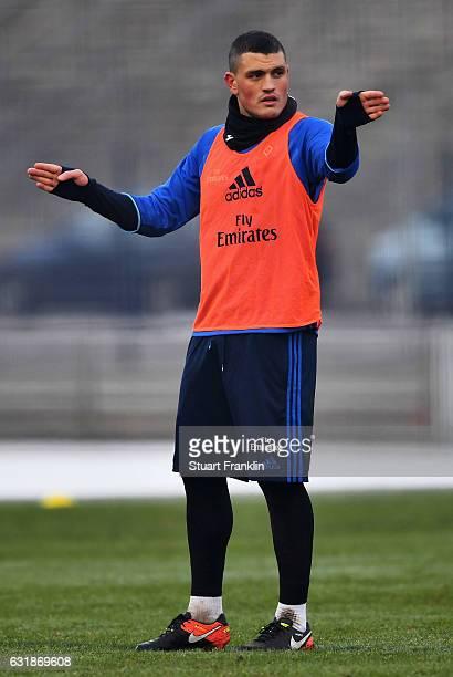 Kyriakos Papadopoulos of Hamburg gestures during a training session of Hamburger SV on January 17 2017 in Hamburg Germany