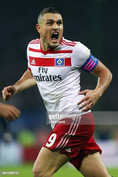 Kyriakos Papadopoulos of Hamburg reacts during the Bundesliga match between Hamburger SV and RB Leipzig at Volksparkstadion on September 8 2017 in...