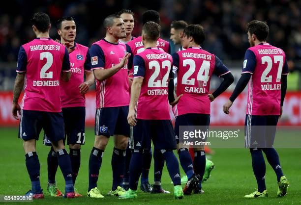 Kyriakos Papadopoulos of Hamburg speaks to his team mates after the Bundesliga match between Eintracht Frankfurt and Hamburger SV at CommerzbankArena...
