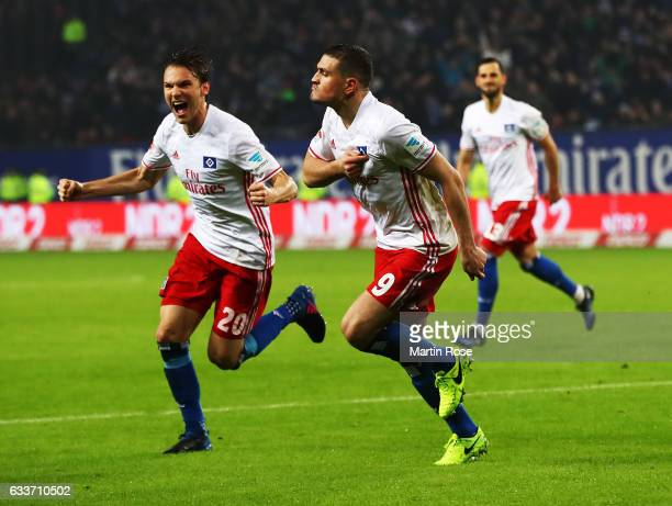 Kyriakos Papadopoulos of Hamburger SV celebrates scoring a goal with Albin Ekdal of Hamburger SV during the Bundesliga match between Hamburger SV and...
