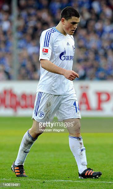 Kyriakos Papadopoulos of Schalke leave the pitch after showing the red card during the Bundesliga match between SC Freiburg and FC Schalke 04 at...
