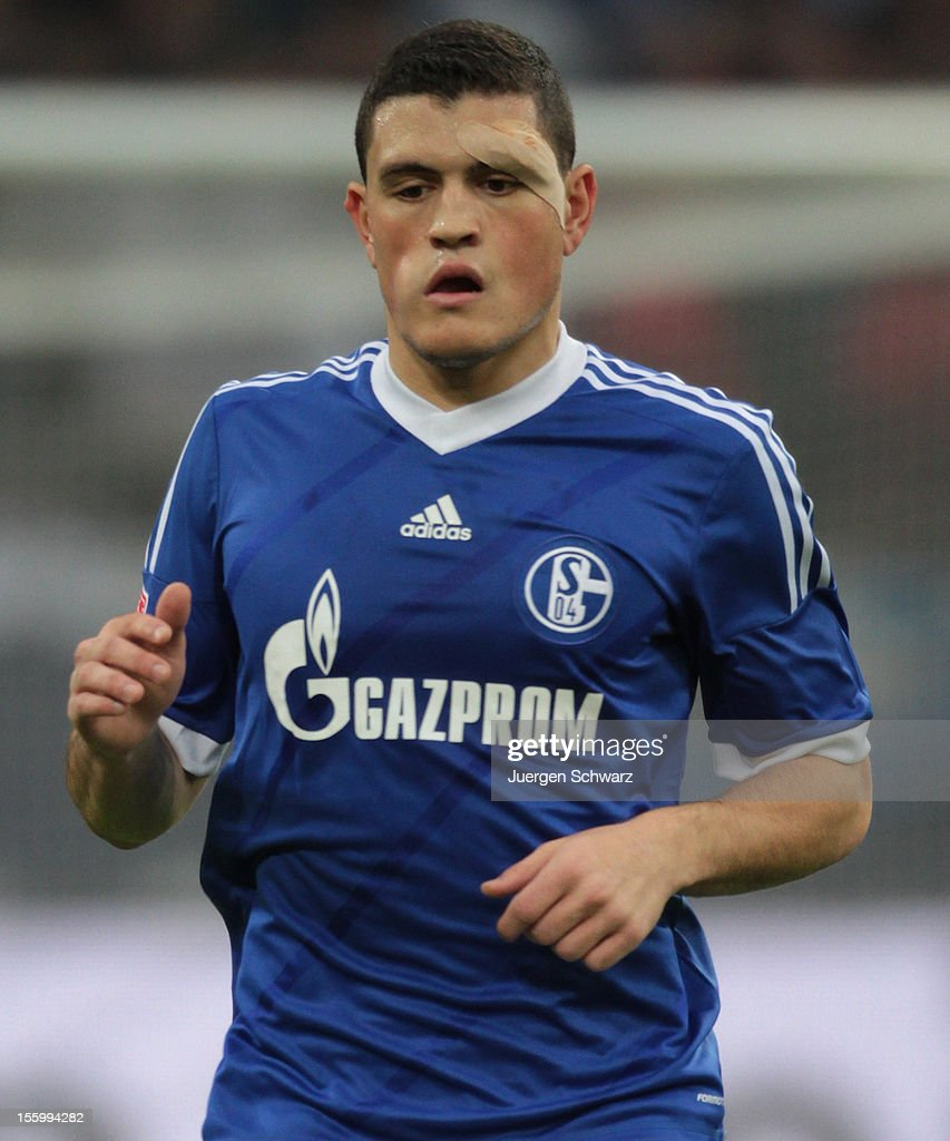 Kyriakos Papadopoulos of Schalke wears an adhesive bandage during the Bundesliga match between FC Schalke 04 and Werder Bremen at Veltins-Arena on November 10, 2012 in Gelsenkirchen, Germany.