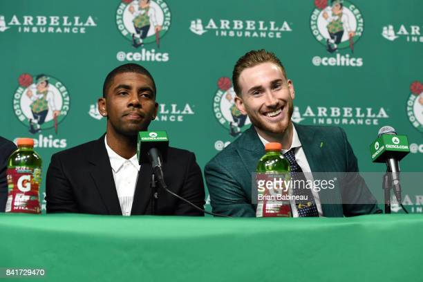 Kyrie Irving and Gordon Hayward get introduced as Boston Celtics on September 1 2017 at the TD Garden in Boston Massachusetts NOTE TO USER User...