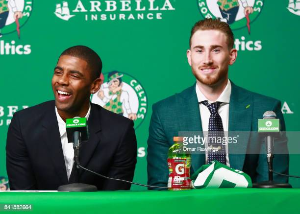 Kyrie Irving and Gordon Hayward of the Boston Celtics laugh during their introduction at TD Garden on September 1 2017 in Boston Massachusetts