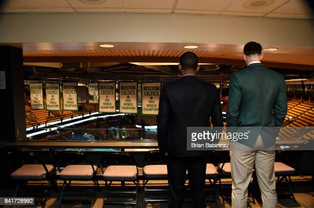 Kyrie Irving and Gordon Hayward overlook the arena before their introduction on September 1 2017 at the TD Garden in Boston Massachusetts NOTE TO...