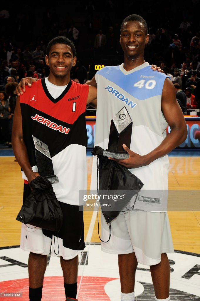 Kyrie Irving #1 and Harrison Barnes #40 pose after the National Game at the 2010 Jordan Brand classic at Madison Square Garden on April 17, 2010 in New York City.
