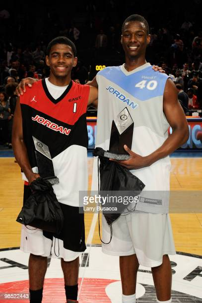 Kyrie Irving and Harrison Barnes pose after the National Game at the 2010 Jordan Brand classic at Madison Square Garden on April 17 2010 in New York...