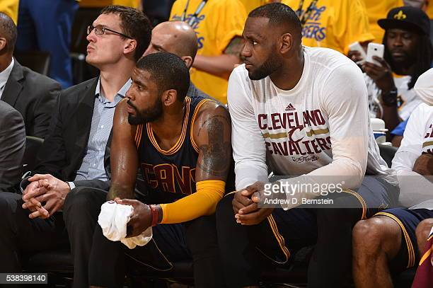 Kyrie Irving and LeBron James of the Cleveland Cavaliers on the bench during the game against the Golden State Warriors in Game Two of the 2016 NBA...