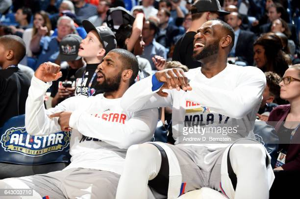 Kyrie Irving and LeBron James of the Eastern Conference AllStar Team during the NBA AllStar Game as part of the 2017 NBA All Star Weekend on February...