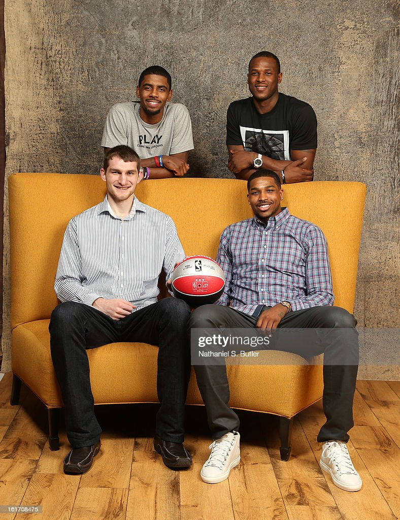 Kyrie Irving #2, Dion Waiters #3, Tyler Zeller #40 and Tristan Thompson #13 of the Cleveland Cavaliers poses for portraits during the NBAE Circuit as part of 2013 All-Star Weekend at the Hilton Americas Hotel on February 14, 2012 in Houston, Texas.