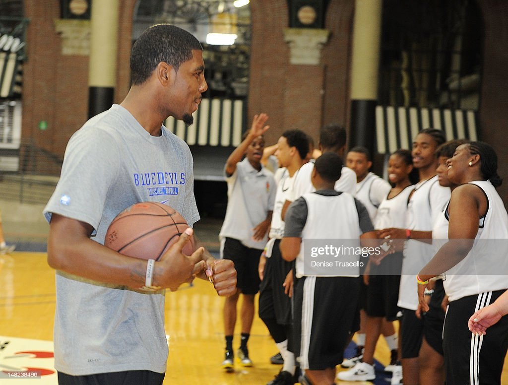 <a gi-track='captionPersonalityLinkClicked' href=/galleries/search?phrase=Kyrie+Irving&family=editorial&specificpeople=6893971 ng-click='$event.stopPropagation()'>Kyrie Irving</a> during the Jalen Rose Leadership Academy Clinic at Impact Basketball on July 12, 2012 in Las Vegas, Nevada.