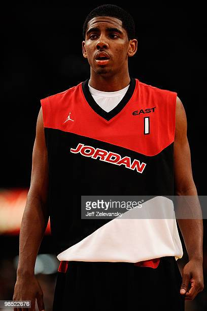 Kyrie Irving of East Team on court during the National Game at the 2010 Jordan Brand classic at Madison Square Garden on April 17 2010 in New York...