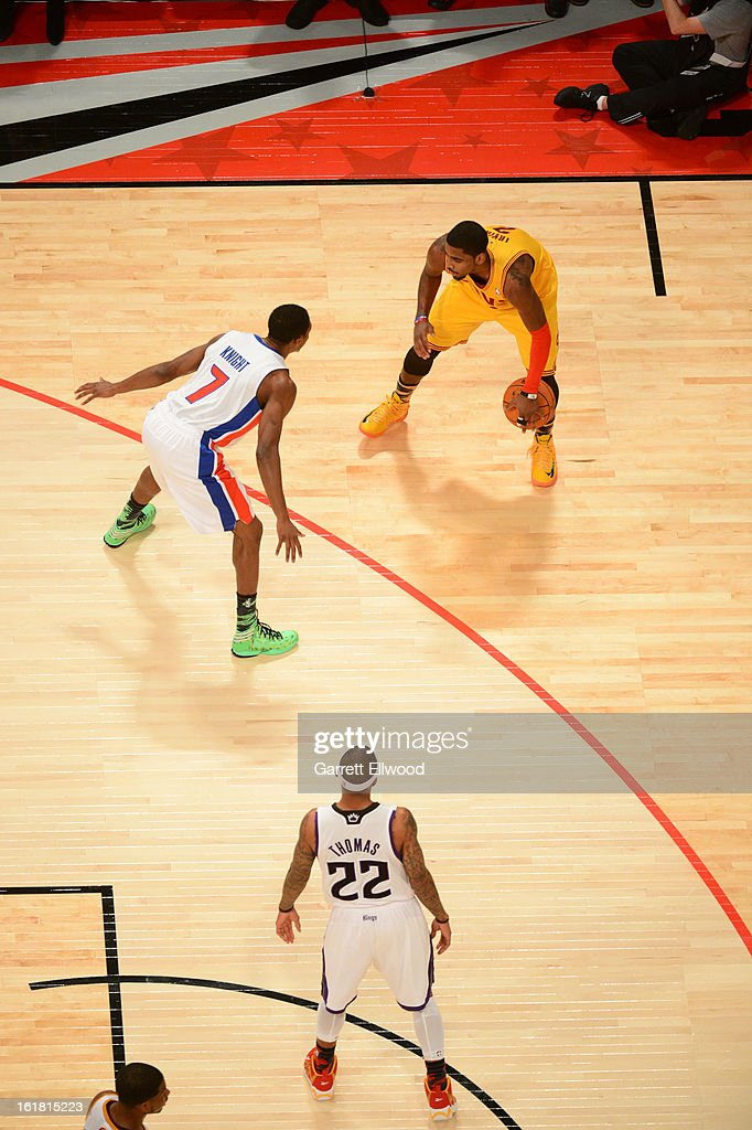 Kyrie Irving #2 of Team Shaq dribbles the ball against Team Chuck during 2013 BBVA Rising Stars Challenge at Toyota Center on February 15, 2013 in Houston, Texas.