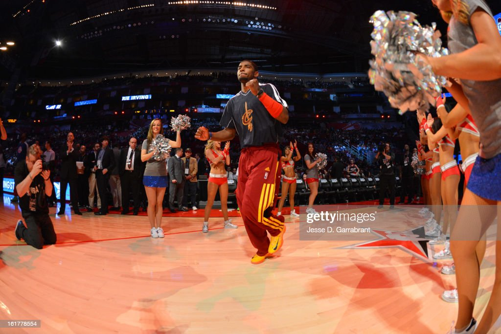 Kyrie Irving #2 of Team Shaq enters the court before the game against Team Chuck at the 2013 BBVA Rising Stars Challenge at Toyota Center on February 15, 2013 in Houston, Texas.