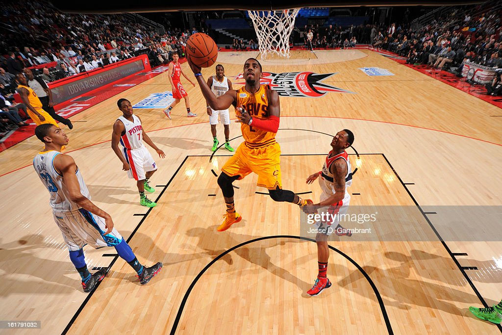 <a gi-track='captionPersonalityLinkClicked' href=/galleries/search?phrase=Kyrie+Irving&family=editorial&specificpeople=6893971 ng-click='$event.stopPropagation()'>Kyrie Irving</a> #2 of Team Shaq shoots against Team Chuck during the 2013 BBVA Rising Stars Challenge at Toyota Center on February 15, 2013 in Houston, Texas.