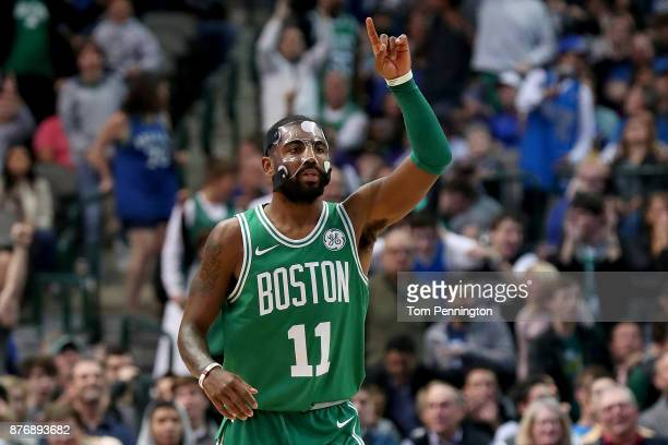 Kyrie Irving of the Boston Celtics celebrates against the Dallas Mavericks at American Airlines Center on November 20 2017 in Dallas Texas NOTE TO...