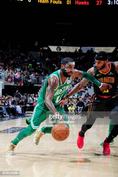 Kyrie Irving of the Boston Celtics drives to the basket against the Atlanta Hawks on November 18 2017 at Philips Arena in Atlanta Georgia NOTE TO...