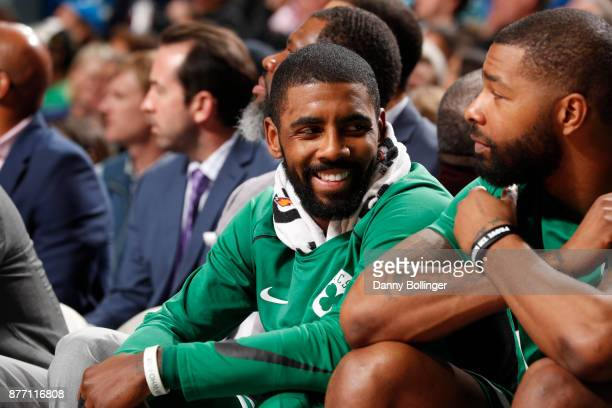 Kyrie Irving of the Boston Celtics during the game against the Dallas Mavericks on November 20 2017 at the American Airlines Center in Dallas Texas...
