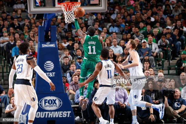 Kyrie Irving of the Boston Celtics goes for the layup during the game against the Dallas Mavericks on November 20 2017 at the American Airlines...