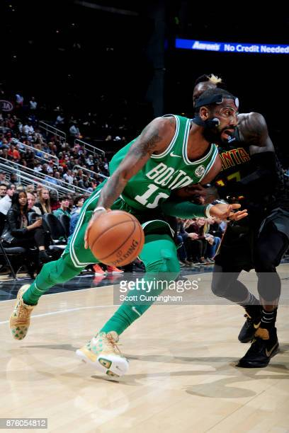 Kyrie Irving of the Boston Celtics goes to the basket against the Atlanta Hawks on November 18 2017 at Philips Arena in Atlanta Georgia NOTE TO USER...
