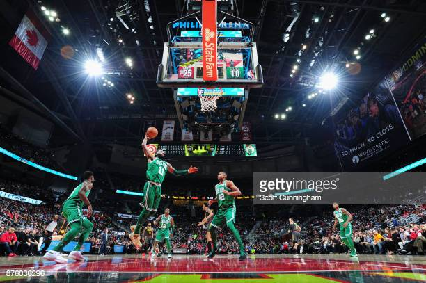 Kyrie Irving of the Boston Celtics grabs the rebound against the Atlanta Hawks on November 18 2017 at Philips Arena in Atlanta Georgia NOTE TO USER...