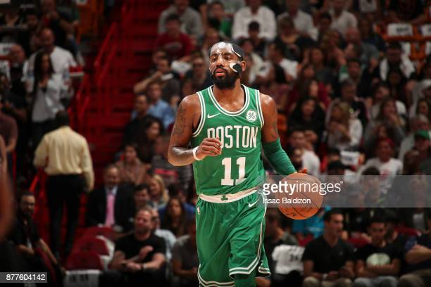 Kyrie Irving of the Boston Celtics handles the ball against the Miami Heat on November 22 2017 at AmericanAirlines Arena in Miami Florida NOTE TO...
