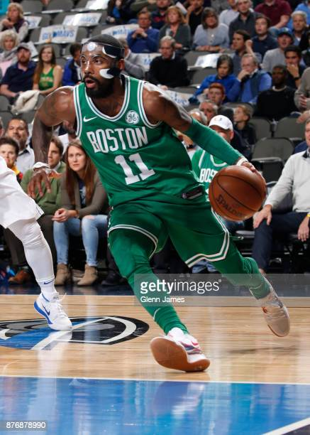 Kyrie Irving of the Boston Celtics handles the ball during the game Dallas Mavericks on November 20 2017 at the American Airlines Center in Dallas...