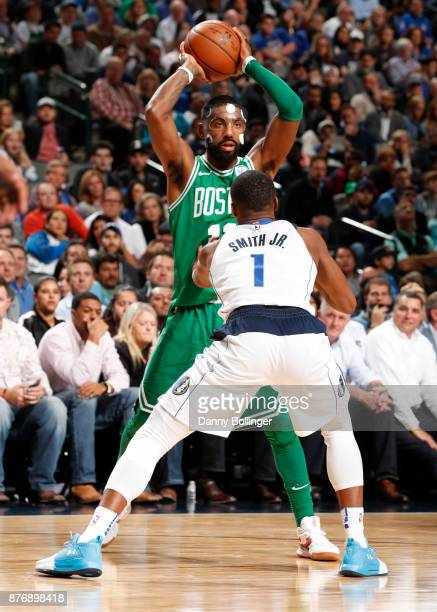 Kyrie Irving of the Boston Celtics handles the ball during the game against the Dallas Mavericks on November 20 2017 at the American Airlines Center...