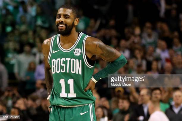 Kyrie Irving of the Boston Celtics looks on during the fourth quarter against the Golden State Warriors at TD Garden on November 16 2017 in Boston...