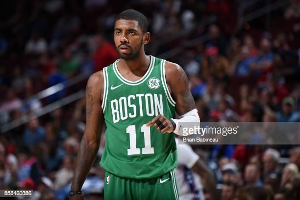 Kyrie Irving of the Boston Celtics looks on during the game against the Philadelphia 76ers on October 6 2017 in Philadelphia Pennsylvania at the...