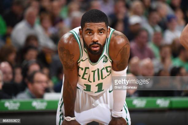 Kyrie Irving of the Boston Celtics looks on during the game against the San Antonio Spurs on October 30 2017 at the TD Garden in Boston Massachusetts...