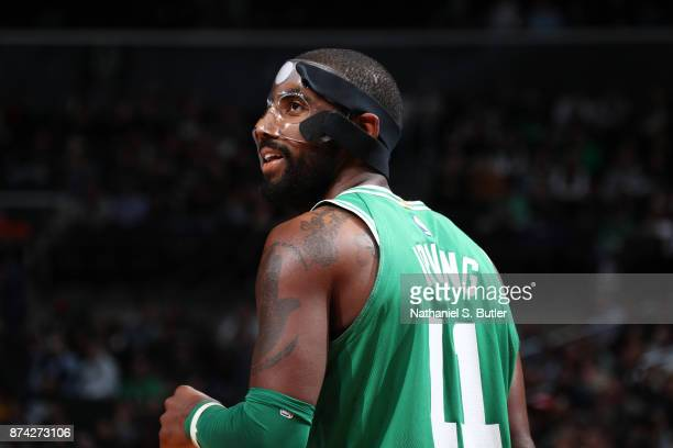 Kyrie Irving of the Boston Celtics looks on during the game against the Brooklyn Nets' on November 14 2017 at Barclays Center in Brooklyn New York...