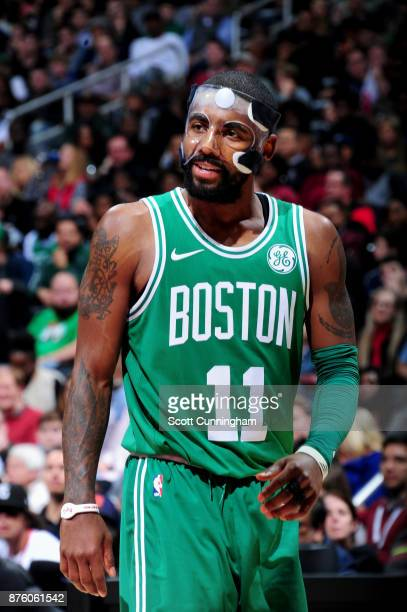 Kyrie Irving of the Boston Celtics looks on during the game against the Atlanta Hawks on November 18 2017 at Philips Arena in Atlanta Georgia NOTE TO...